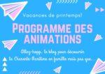 Programme des animations des vacances de Pâques