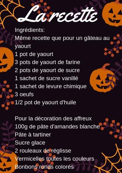 La recette des affreux d'halloween