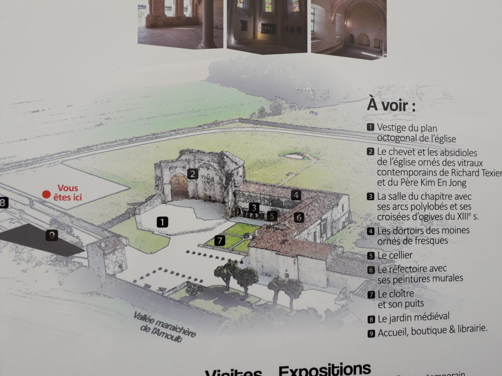 Plan de l'abbaye de Trizay à l'entrée du site