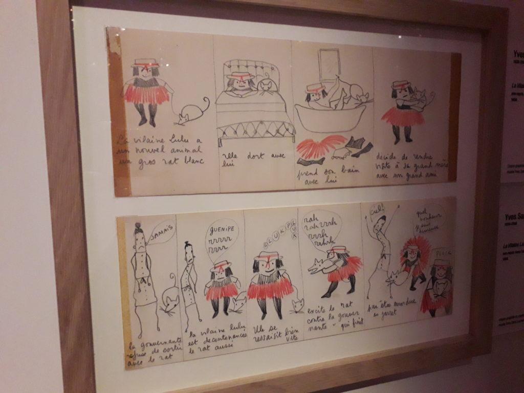 """Bande originale de la bande dessinée de Yves Saint-Laurent """"La Vilaine Lulu"""" exposition """"Mode et bade dessinée"""" cité de la bande dessinée Angoulême"""